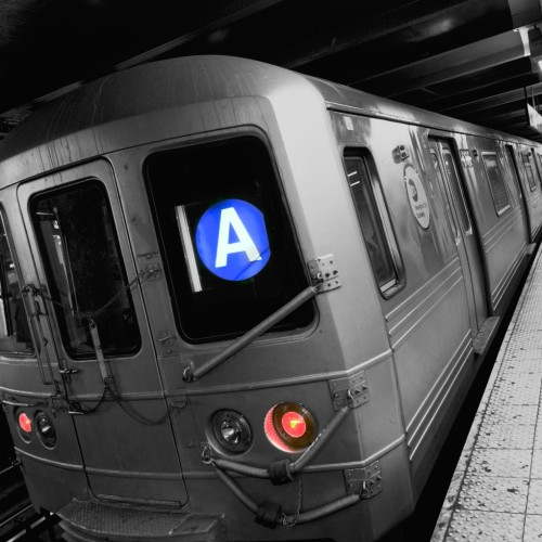 CEW9TA The A train New York subway line, New York City, America, USA